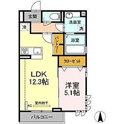 JR横須賀線 新川崎駅 徒歩12分の賃貸アパート 2階1LDKの間取り