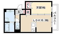 愛知県名古屋市南区笠寺町市場東の賃貸アパートの間取り