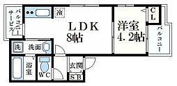 ざ・してぃ六甲山手V 1階1LDKの間取り