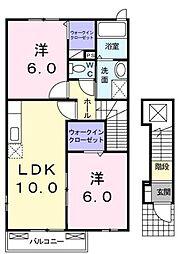 高松琴平電気鉄道長尾線 学園通り駅 徒歩10分の賃貸アパート 2階2LDKの間取り