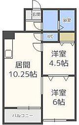 北海道札幌市東区北二十四条東10丁目の賃貸アパートの間取り