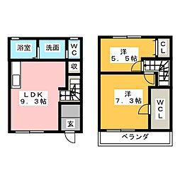 [テラスハウス] 愛知県北名古屋市中之郷南 の賃貸【/】の間取り