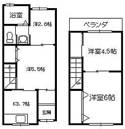 [テラスハウス] 大阪府大阪市中央区谷町7丁目 の賃貸【/】の間取り
