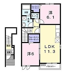 岡山県井原市木之子町の賃貸アパートの間取り