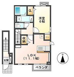 ライジングコートI・II[2階]の間取り