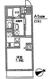 東京都世田谷区代沢2丁目の賃貸アパートの間取り