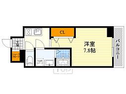 ワールドアイ江坂アルバ 6階1Kの間取り