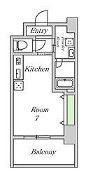 JR大阪環状線 野田駅 徒歩3分の賃貸マンション 7階ワンルームの間取り