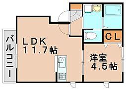 福岡県春日市上白水2丁目の賃貸アパートの間取り