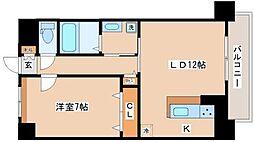 西舞子壱番館 2階1LDKの間取り