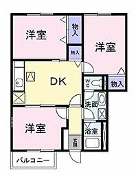 愛知県岡崎市西蔵前町字西屋敷の賃貸アパートの間取り