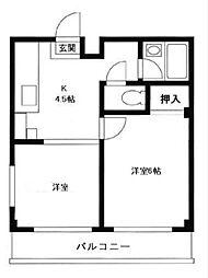 神奈川県横浜市鶴見区東寺尾2丁目の賃貸アパートの間取り