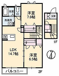 仮)ガーデンズK B棟[208号室]の間取り
