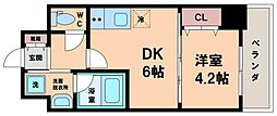 S-RESIDENC阿波座WEST 2階1DKの間取り