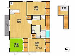 兵庫県宝塚市寿楽荘の賃貸アパートの間取り