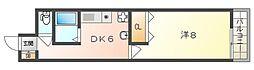 ラコンテエム 5階1DKの間取り