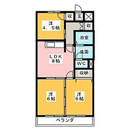 高杉ハイツ丹羽[4階]の間取り