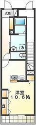 JR中央本線 国立駅 徒歩14分の賃貸アパート 1階ワンルームの間取り