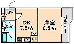 兵庫県伊丹市稲野町2丁目の賃貸マンションの間取り