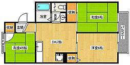 京都府京都市西京区松尾大利町の賃貸アパートの間取り
