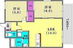ワコーレヴィータ神戸グランパルク[2階]の間取り