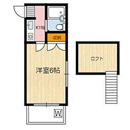 静岡県静岡市葵区沓谷5丁目の賃貸アパートの間取り