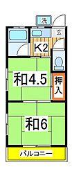 コーポ東台[201号室]の間取り