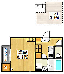 大阪府大阪市城東区放出西3丁目の賃貸アパートの間取り