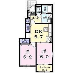 高松琴平電気鉄道長尾線 長尾駅 徒歩26分の賃貸アパート 1階2DKの間取り