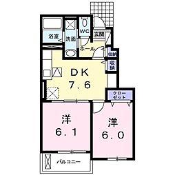 香川県三豊市詫間町詫間の賃貸アパートの間取り