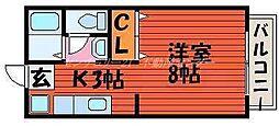 JR吉備線 備前三門駅 徒歩13分の賃貸アパート 1階1Kの間取り