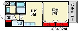 グランドール 7階1DKの間取り