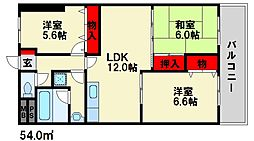 福岡県大野城市下大利5丁目の賃貸マンションの間取り