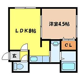 北海道札幌市中央区南七条西12丁目の賃貸アパートの間取り