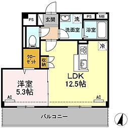 JR身延線 国母駅 徒歩15分の賃貸アパート 3階1LDKの間取り