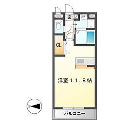 岐阜県中津川市駒場の賃貸アパートの間取り