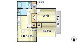 兵庫県赤穂市片浜町の賃貸アパートの間取り