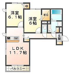 兵庫県神戸市垂水区霞ケ丘5丁目の賃貸アパートの間取り
