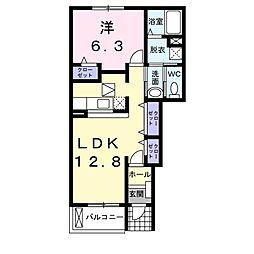 愛知県大府市柊山町6丁目の賃貸アパートの間取り