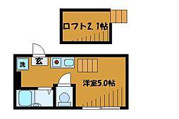 東京都国分寺市内藤1丁目の賃貸アパートの間取り