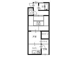 第2文化住宅[1階右3号室]の間取り