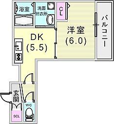 グランデトワールII 2階1DKの間取り