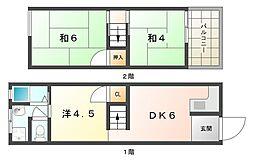 [テラスハウス] 大阪府守口市金田町2丁目 の賃貸【/】の間取り