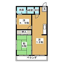 コーポワコー[3階]の間取り