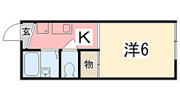 兵庫県姫路市飾磨区城南町の賃貸アパートの間取り