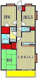 ゼファー四ツ木ザナドゥ21[3階]の間取り