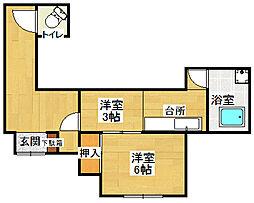 西湘アパート 西棟[1号室号室]の間取り