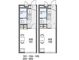 京阪本線 寝屋川市駅 徒歩15分の賃貸アパート 1階1Kの間取り