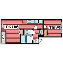 北海道札幌市豊平区福住一条8丁目の賃貸アパートの間取り