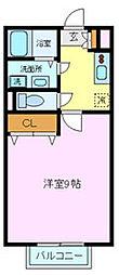 サンハイムカワムラB[1階]の間取り